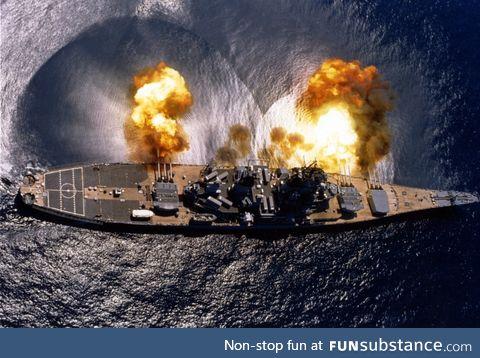 The USS Iowa (BB-61) fires her 16-inch/50 caliber guns