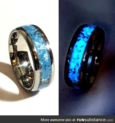 Titanium and Meteorite Blue Glow Ring, by day and by night