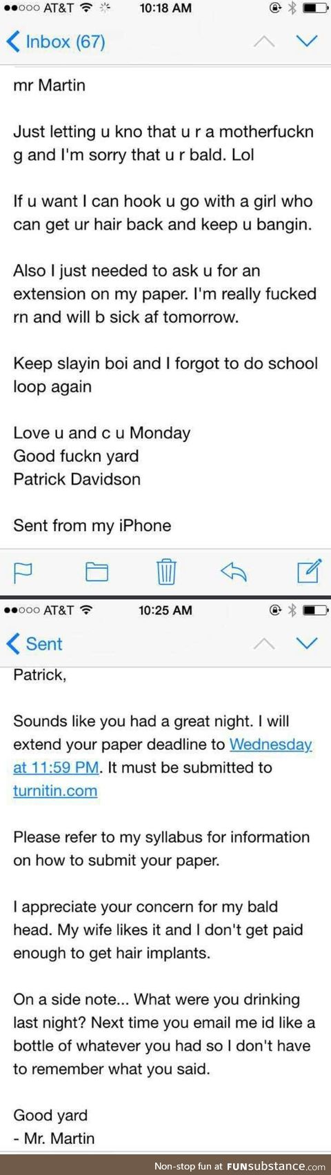 Drunk students convo with a professor