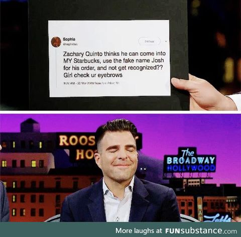 Zachary Quinto was busted for his fake Starbucks name