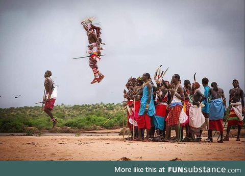 A Samburu warrior clearing some serious air at the dance