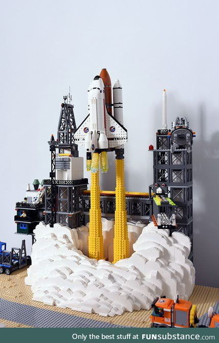 Detailed Space Shuttle launch made out of LEGO