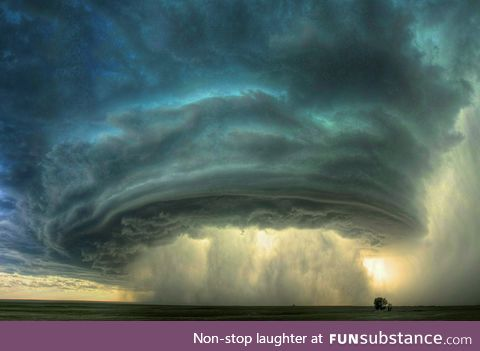 The wall cloud of a supercell