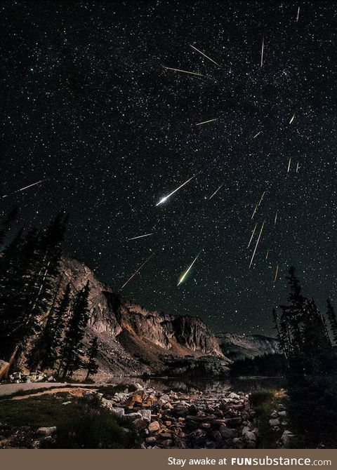 Long exposure to a meteor shower