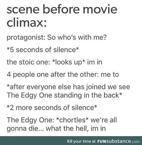 Scene before climax