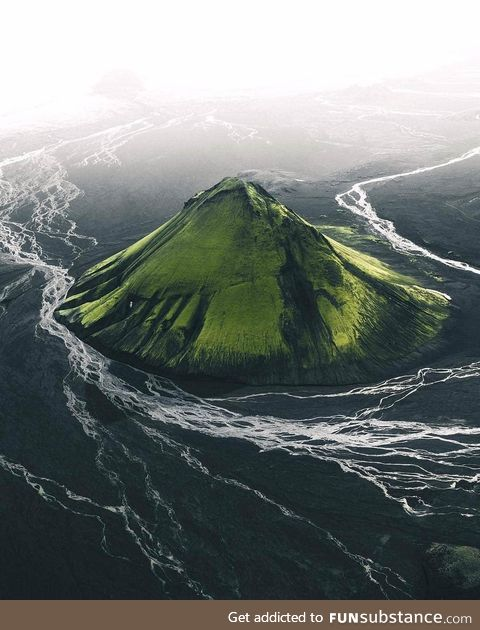 Green volcano in Iceland
