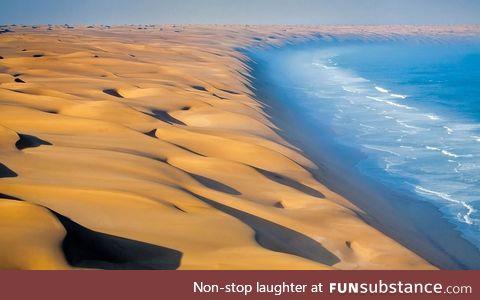 Where the Namib Desert meets the Atlantic Ocean, in Africa