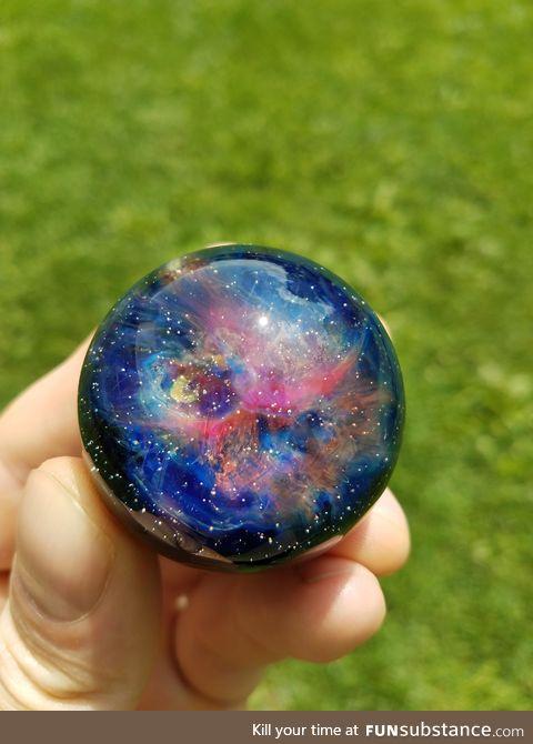 A Galactic Nebula Cosmic Porthole. Glass orb