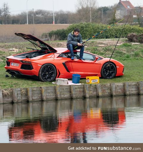 Just a normal belgian fishing on his lambo
