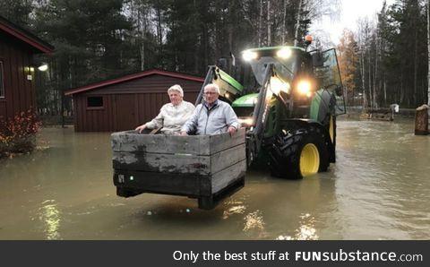Saving grandma and grandpa from flood, Norway
