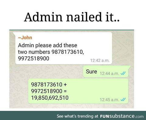 Admin nailed it