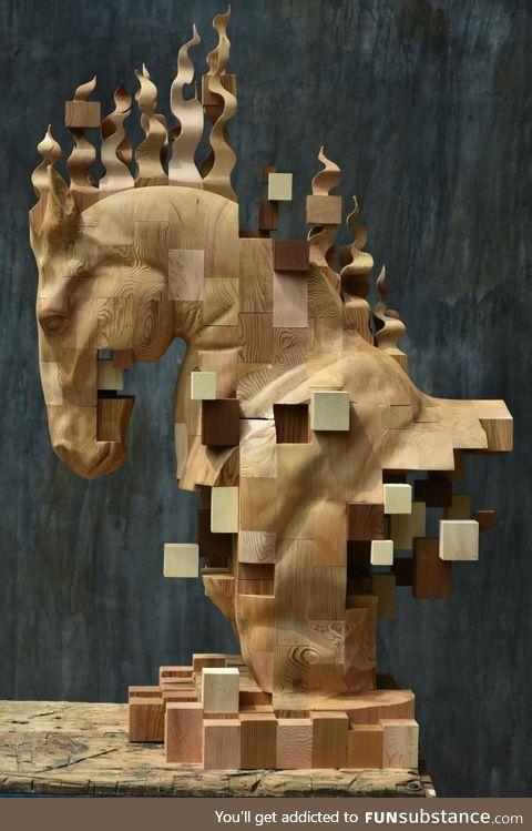 Chess, Hsu Tung Han, wood sculpture, '18