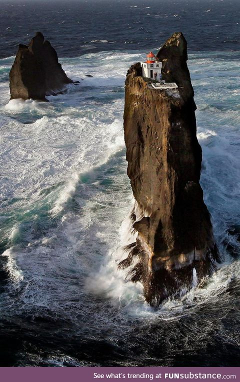 The lighthouse,Þrídrangaviti, is the most isolated lighthouse in the world