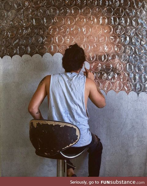 Realistic Bubble wrap painting by Dr mederos