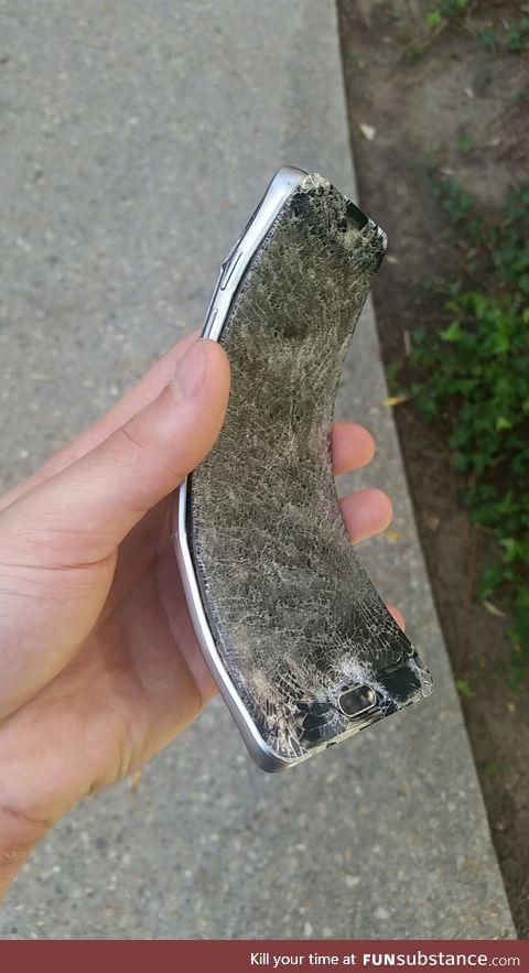 When a phone fell on the treadmill