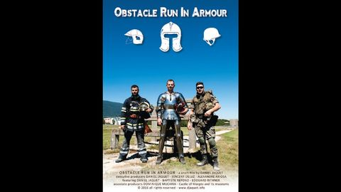A modern day soldier, a firefighter and a knight run the an obstacle course in full armor
