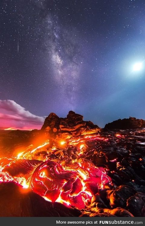 Lava of The Kelawia volcano, the moon, a falling meteorite and the Milky Way