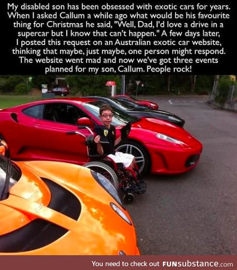 Disabled son gets to experience exotic cars