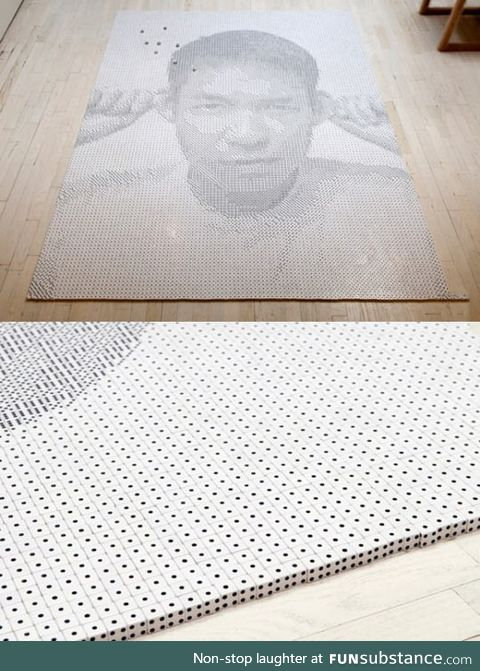 Epic portrait made out of 13,138 dice
