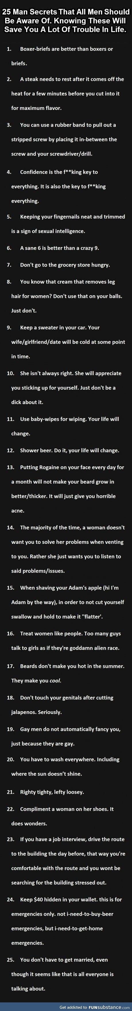 Secrets all men should know