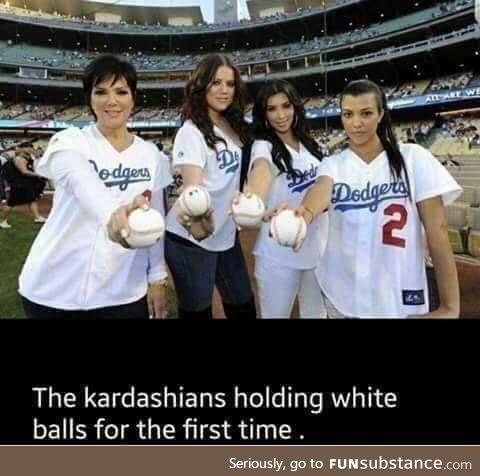 The Kardashians holding white balls