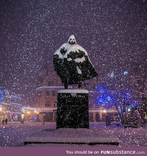 Every winter, this statue in Poland looks like darth vader