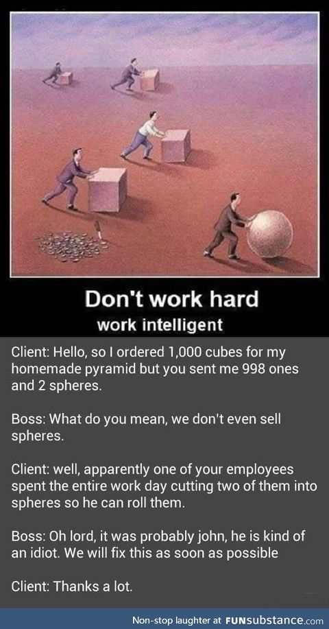 Don't work too intelligent