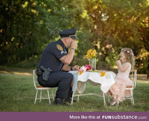 2 year old hosts a tea party for police officer who saved her life