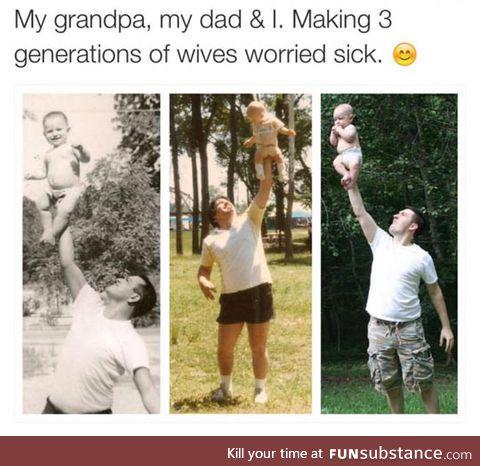 Three generations of fatherhood
