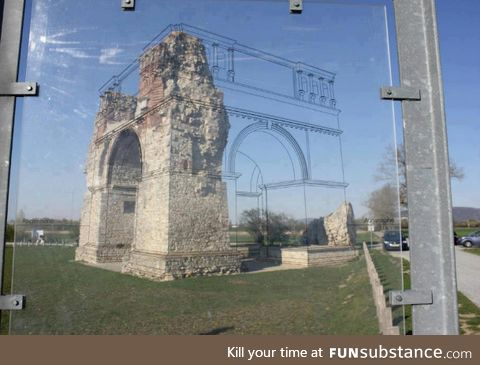 A very clever way to show what ancient ruins looked like back in the day