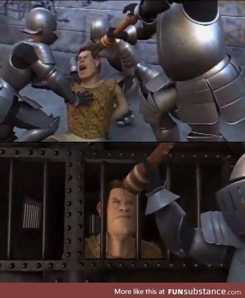 In Shrek 2, when Shrek gets arrested, the guards throw pepper seasoning at his eyes,