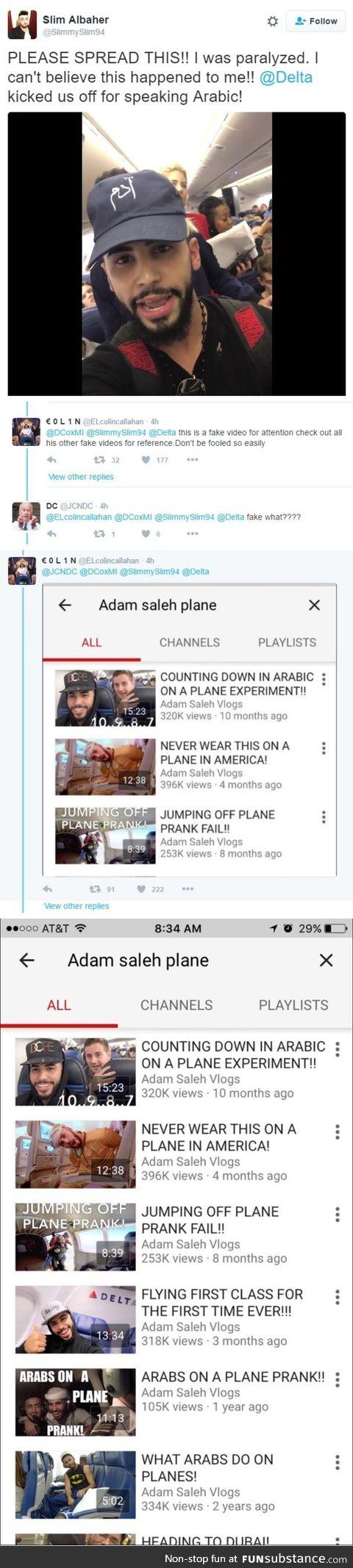 Arabic man gets thrown off a plane