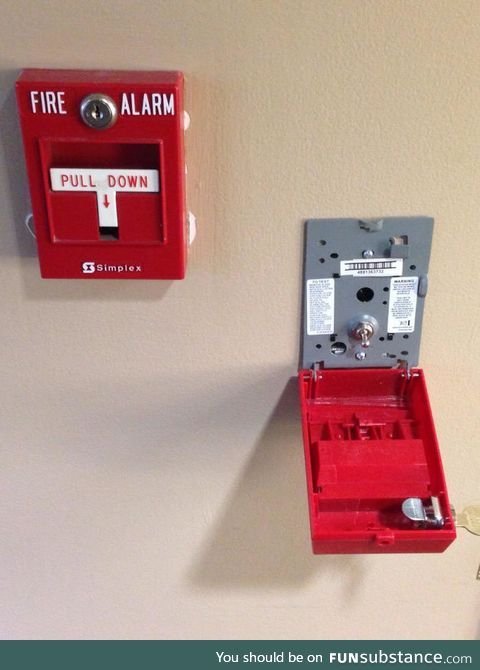The inside of a fire alarm is just a simple switch
