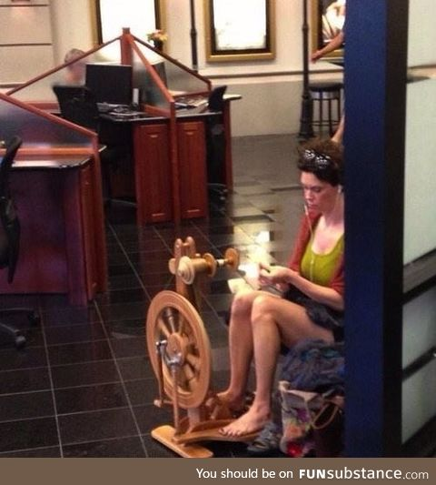 You may be a hipster.... But you'll never be a girl spinning yarn in a BMW dealership