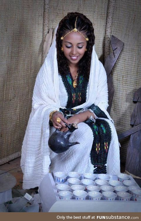 Ethiopian girl in Traditional coffee ceremony