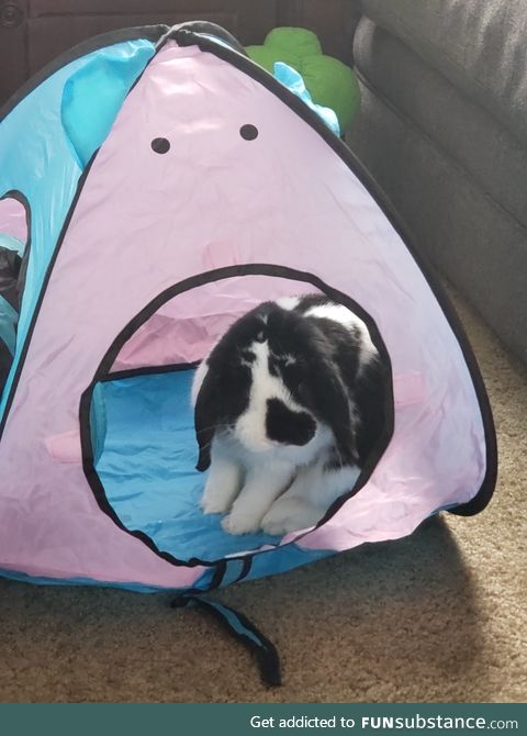 In his little house