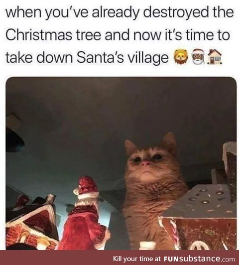 This a giant cat defying Santa and nothing else