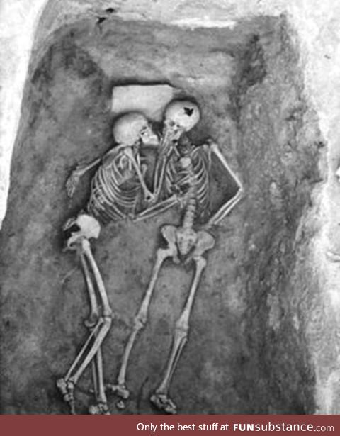 """""""True love lasts forever. This is a 6,000 year old kiss discovered discovered on an"""