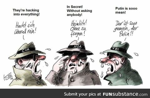 German cartoon about the russin hackings