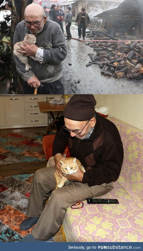 Remember the old man who lost everything in fire but saved his kitten? People bought a