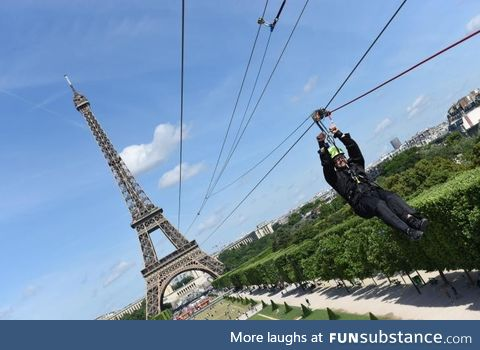 You can currently zipline down the Eiffel Tower