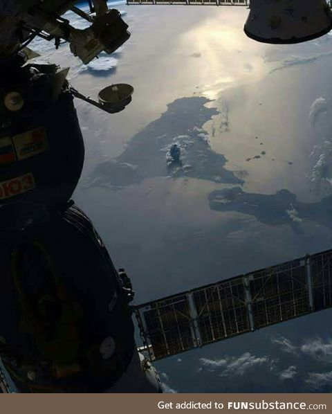 A picture of the Mt Etna eruption taken from the international space station