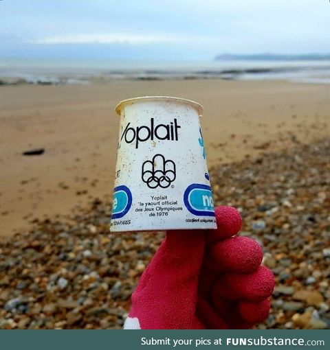 This piece of plastic trash was found on the beach. It was thrown away in 1976. This is