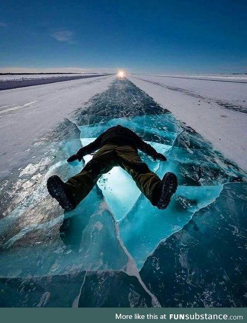 Dettah ice road, yellowknife, canada