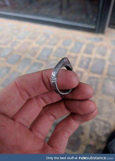 First time making a Damascus steel ring. What does  think?