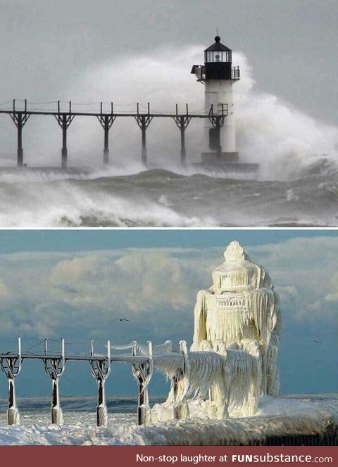 Michigan lighthouse before and after a snow storm