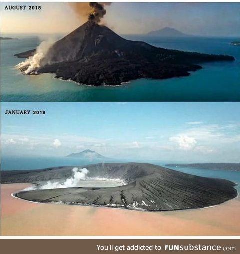 Mount Krakatoa after the eruption