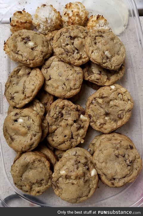 My form of art. Triple chocolate walnut chunk cookies.