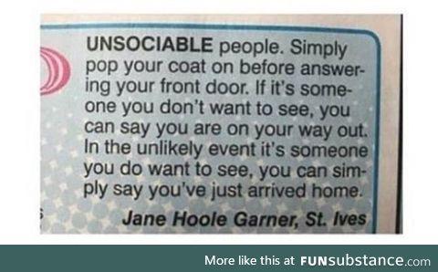 Dear unsociable people