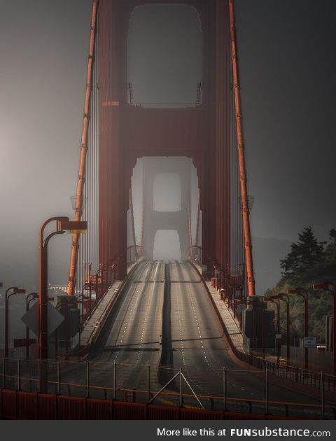 A long exposure of the Golden Gate Bridge on a foggy morning [oc]